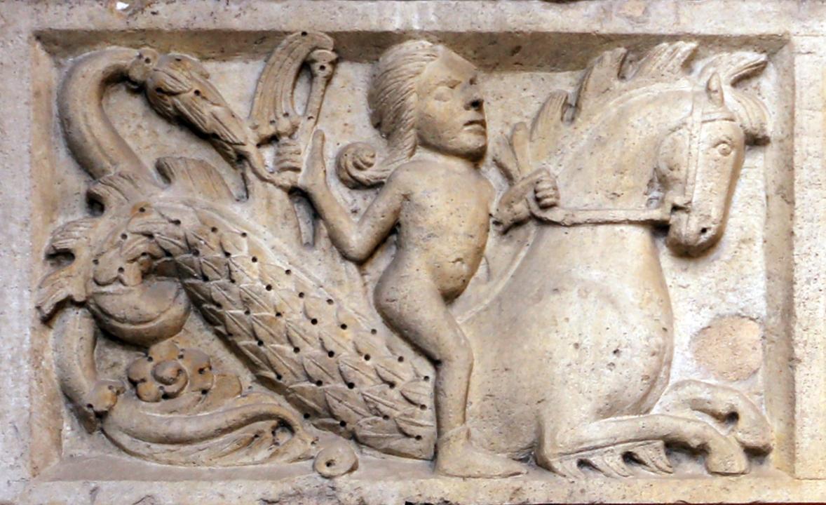 Ambito di wiligelmo, porta della pescheria, 03 favole di esopo, 01 - Copia - Sailko - Modena (MO)