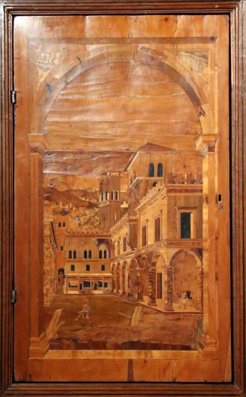 Bottega di pasquale testa, intarsi e intagli (1550-80 ca.) montati su un bancone di fattura parmense del xix secolo 02 - Sailko - Parma (PR)