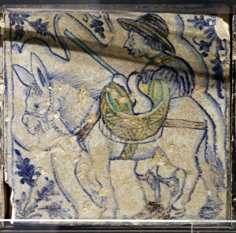 Bottega pesarese, pavimento maiolicato dal monastero di san paolo a parma, 1470-82 ca., contadino con asino che porta zucche sulla soma - Sailko - Parma (PR)