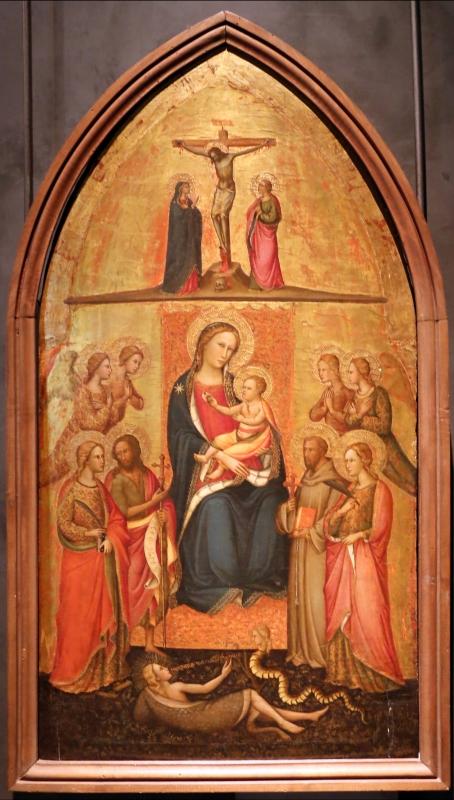 Giuliano di simone ricci, madonna col bambino in trono e quattro angeli, santi e crocifissione, 1380-1400 ca. 01 - Sailko - Parma (PR)