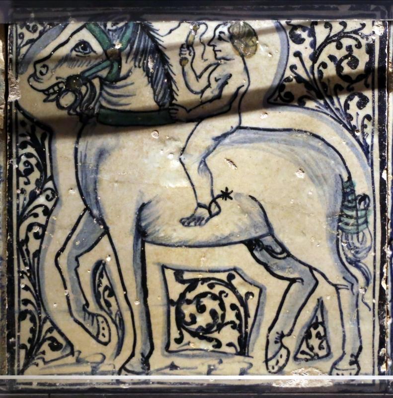 Bottega pesarese, pavimento maiolicato dal monastero di san paolo a parma, 1470-82 ca., cavaliere nudo - Sailko - Parma (PR)