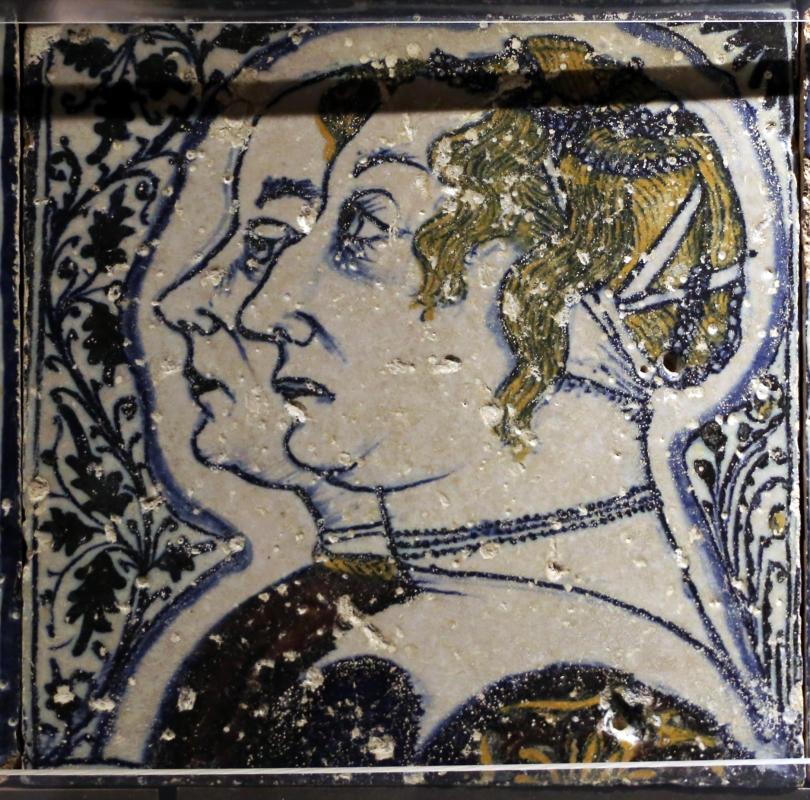 Bottega pesarese, pavimento maiolicato dal monastero di san paolo a parma, 1470-82 ca., doppio profilo femminile - Sailko - Parma (PR)