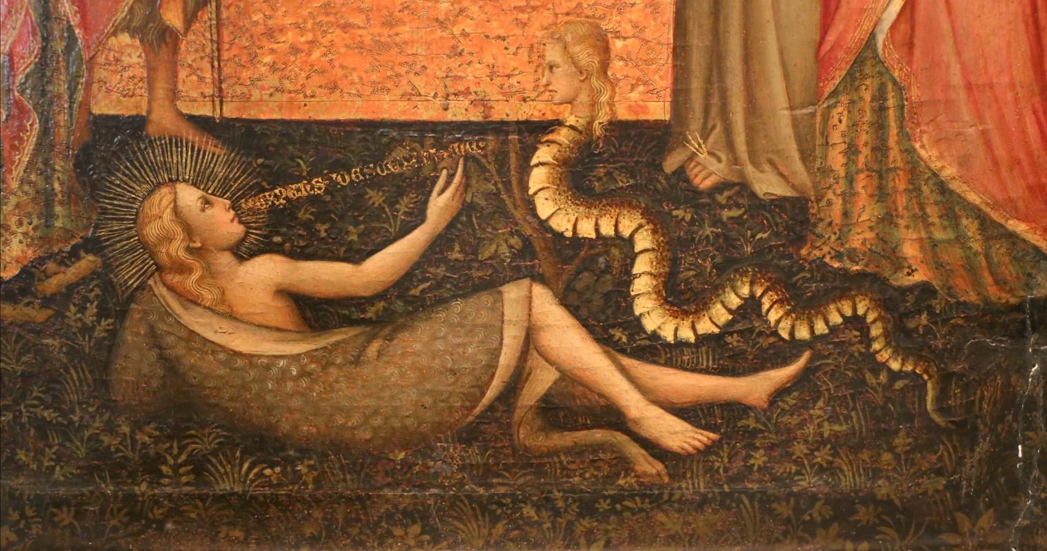 Giuliano di simone ricci, madonna col bambino in trono e quattro angeli, santi e crocifissione, 1380-1400 ca. 02 eva col serpente - Sailko - Parma (PR)