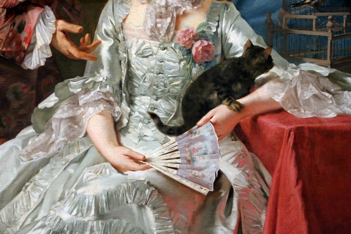 Giuseppe baldrighi, autoritratto con la moglie, 02 gatto e ventaglio - Sailko - Parma (PR)