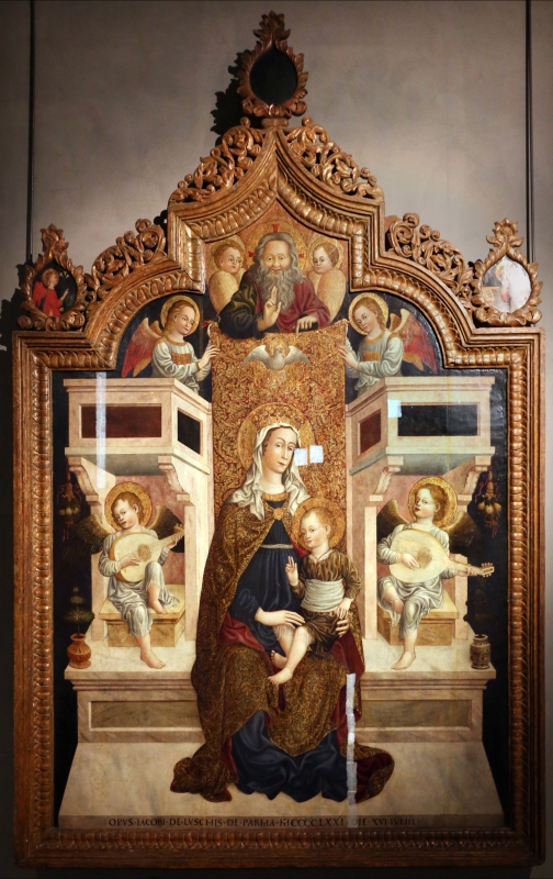 Jacopo loschi, madonna in trono col bambino, angeli e il padre e eterno, 1471, da s. agostino a parma 01 - Sailko - Parma (PR)