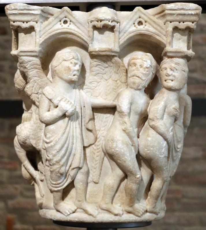 Benedetto antelami, capitello con storie della genesi 02, dal duomo di parma, 1178, cacciata dal paradiso trrestre - Sailko - Parma (PR)