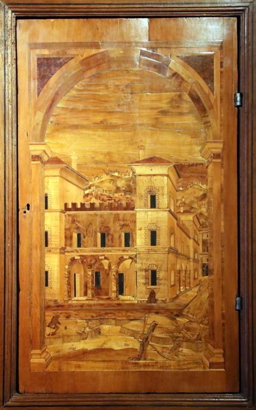 Bottega di pasquale testa, intarsi e intagli (1550-80 ca.) montati su un bancone di fattura parmense del xix secolo 04 - Sailko - Parma (PR)