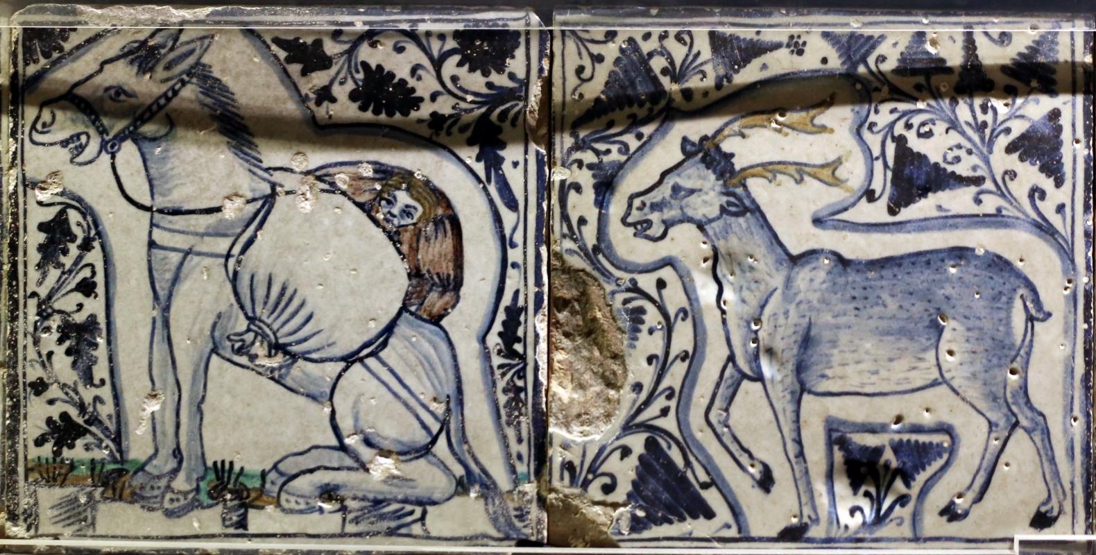 Bottega pesarese, pavimento maiolicato dal monastero di san paolo a parma, 1470-82 ca., asino e cervo - Sailko - Parma (PR)