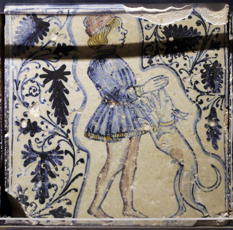 Bottega pesarese, pavimento maiolicato dal monastero di san paolo a parma, 1470-82 ca., uomo con cane - Sailko - Parma (PR)