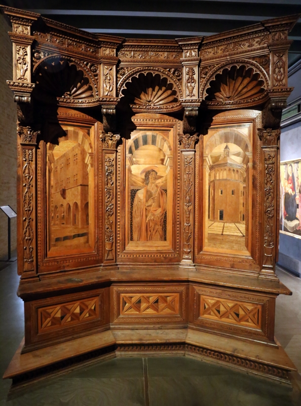 Bernardino da lendinara, due tronetti lignei con vedute di città e i ss. ilario e giovanni battista, 1494, 05 - Sailko - Parma (PR)