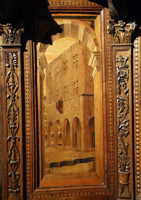 Bernardino da lendinara, due tronetti lignei con vedute di città e i ss. ilario e giovanni battista, 1494, 06 - Sailko - Parma (PR)
