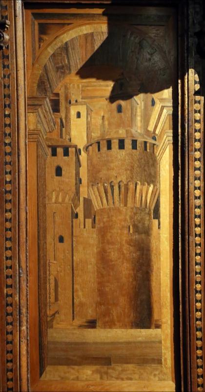Bernardino da lendinara, due tronetti lignei con vedute di città e i ss. ilario e giovanni battista, 1494, 04 - Sailko - Parma (PR)