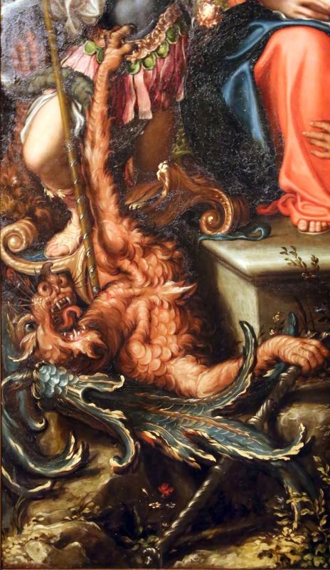 Giorgio gandini del grano, sacra famiglia con santi e angeli, 1534-35, 04 drago - Sailko - Parma (PR)