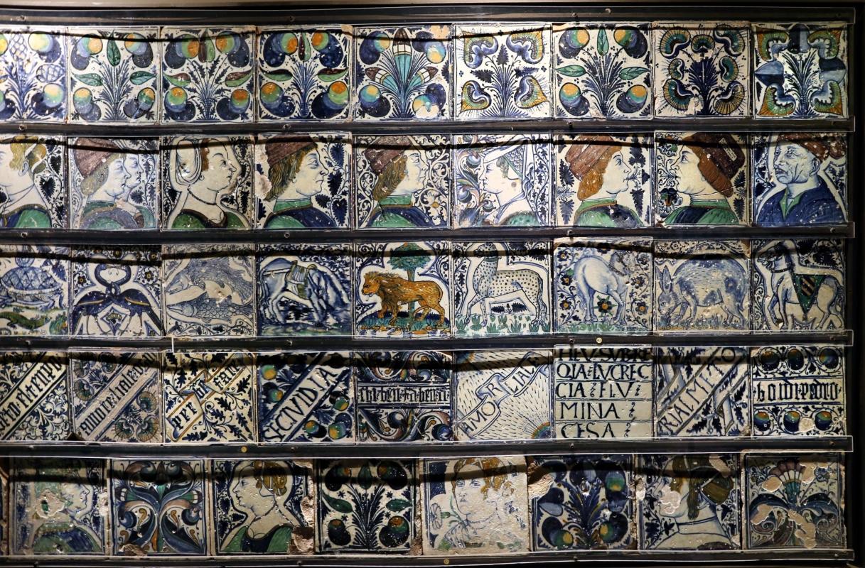 Bottega pesarese, pavimento maiolicato dal monastero di san paolo a parma, 1470-82 ca., 10 - Sailko - Parma (PR)