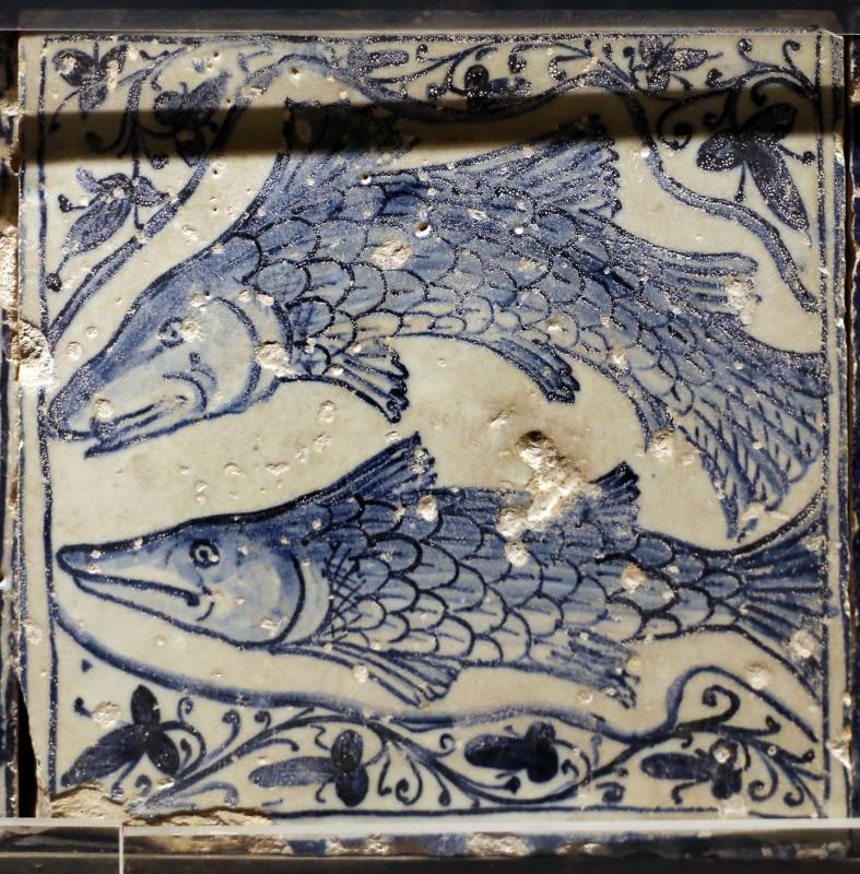 Bottega pesarese, pavimento maiolicato dal monastero di san paolo a parma, 1470-82 ca., pesci - Sailko - Parma (PR)