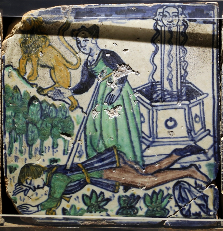 Bottega pesarese, pavimento maiolicato dal monastero di san paolo a parma, 1470-82 ca., uomo trafitto presso un pozzo - Sailko - Parma (PR)
