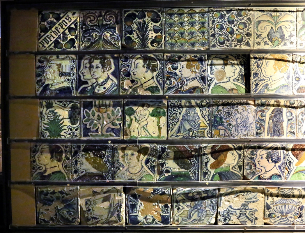 Bottega pesarese, pavimento maiolicato dal monastero di san paolo a parma, 1470-82 ca., 01 - Sailko - Parma (PR)