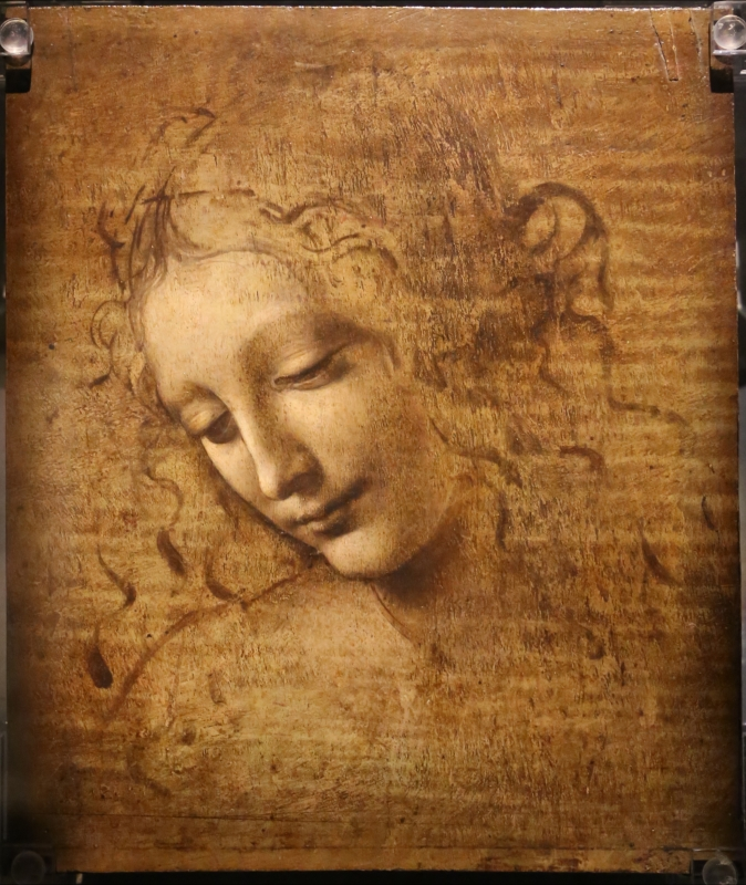 Leonardo da vinci, testa di fanciulla detta la scapigliata, 1500-10 ca., disegno su tavola, 01 - Sailko - Parma (PR)