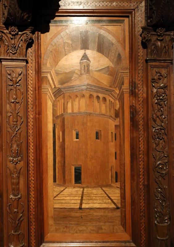 Bernardino da lendinara, due tronetti lignei con vedute di città e i ss. ilario e giovanni battista, 1494, 08 - Sailko - Parma (PR)