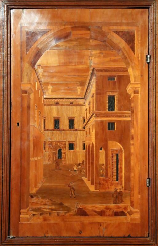 Bottega di pasquale testa, intarsi e intagli (1550-80 ca.) montati su un bancone di fattura parmense del xix secolo 03 - Sailko - Parma (PR)