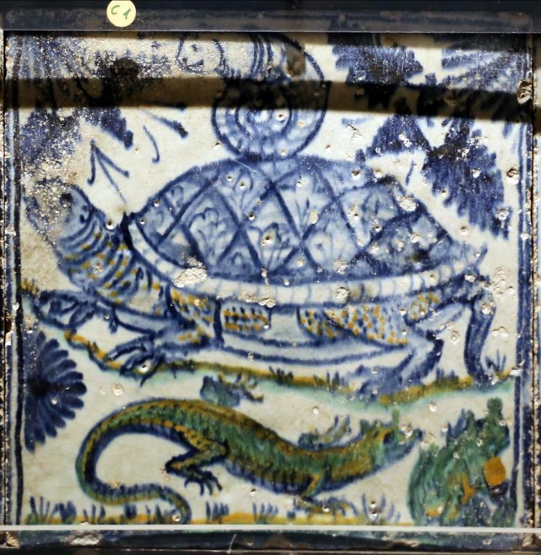 Bottega pesarese, pavimento maiolicato dal monastero di san paolo a parma, 1470-82 ca., tartaruga, lumaca e salamandra - Sailko - Parma (PR)