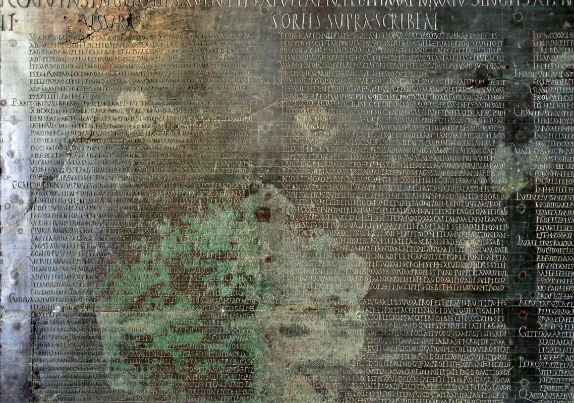 Tabula alimentaria per un prestito ipotecario imperiale, da veleia, II secolo, 02 - Sailko - Parma (PR)