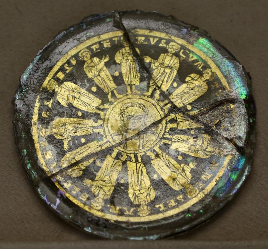 Fondo di coppa dorato con cristo e i dodici apostoli, IV-V secolo dc - Sailko - Parma (PR)