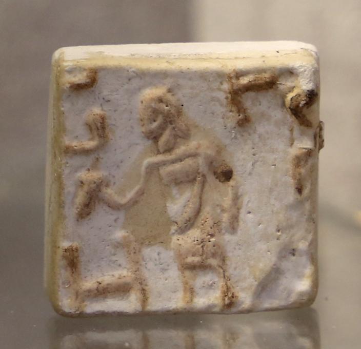 Età romana imperiale, bollo con figura di mercurio e iniziali - Sailko - Parma (PR)