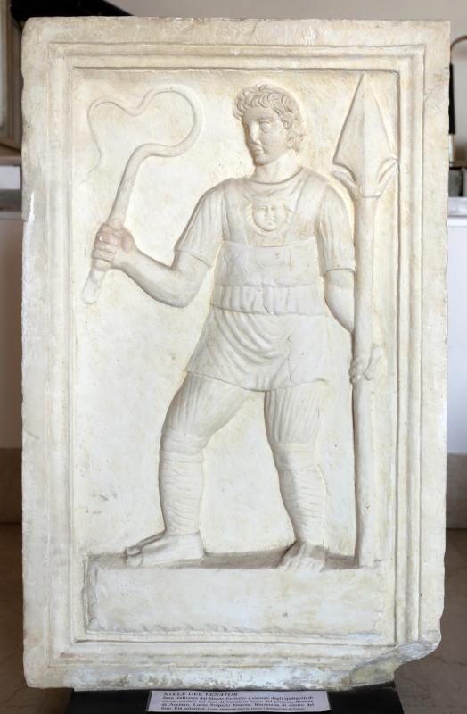 Età antonina, stele del venator, fatta fare dal liberto euthales, da veelia 01 - Sailko - Parma (PR)