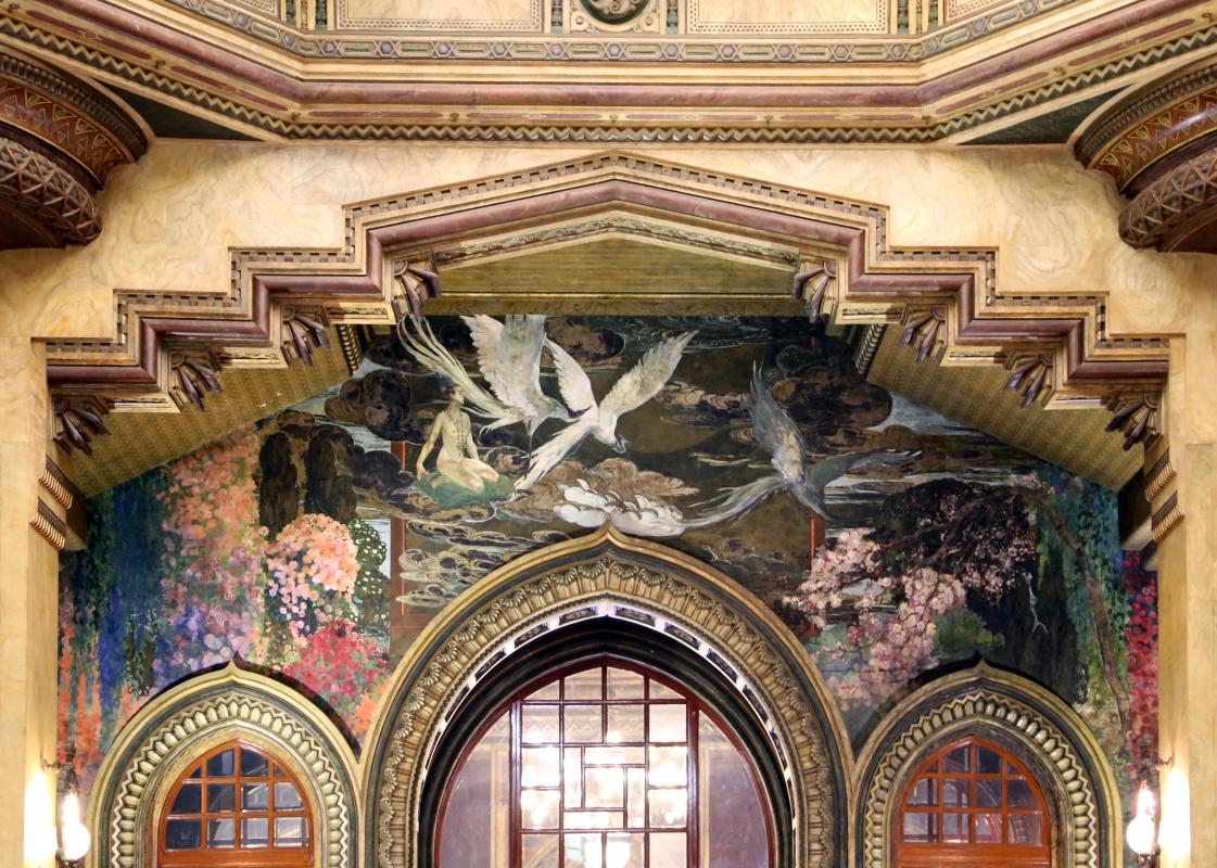 Salsomaggiore, ex-grand hotel, interno, salone moresco, affreschi galileo chini con rivisitazione di Leda e il cigno 01 - Sailko - Salsomaggiore Terme (PR)