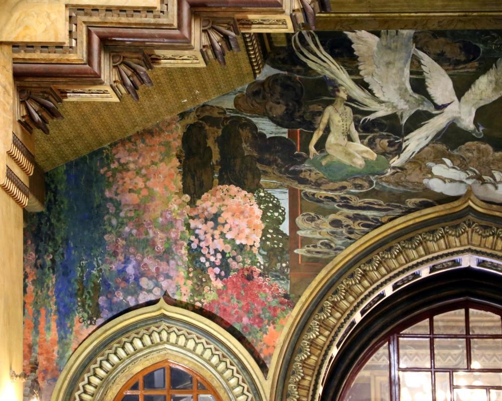 Salsomaggiore, ex-grand hotel, interno, salone moresco, affreschi galileo chini con rivisitazione di Leda e il cigno 02 - Sailko - Salsomaggiore Terme (PR)
