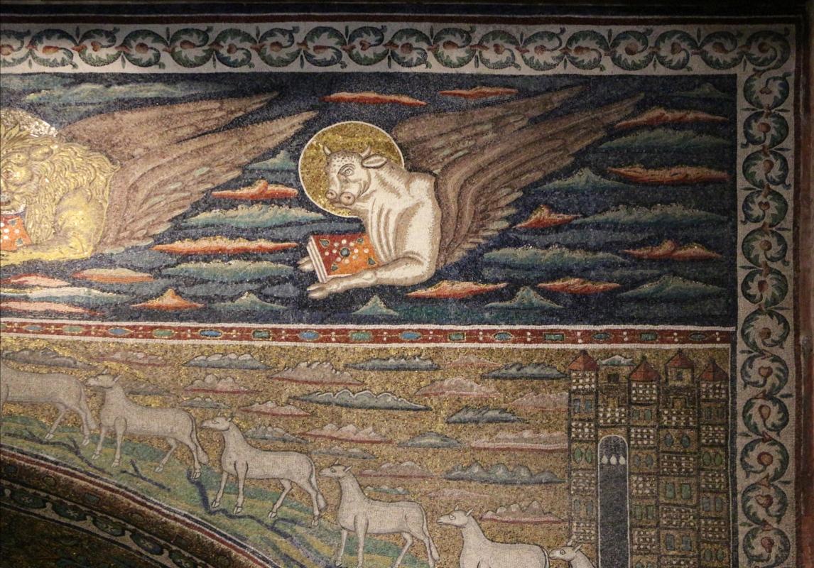 Sant'apollinare in classe, mosaici dell'arcone, cristo benedicente tra i simboli degli evangelisti (IX sec.) 06 luca - Sailko - Ravenna (RA)