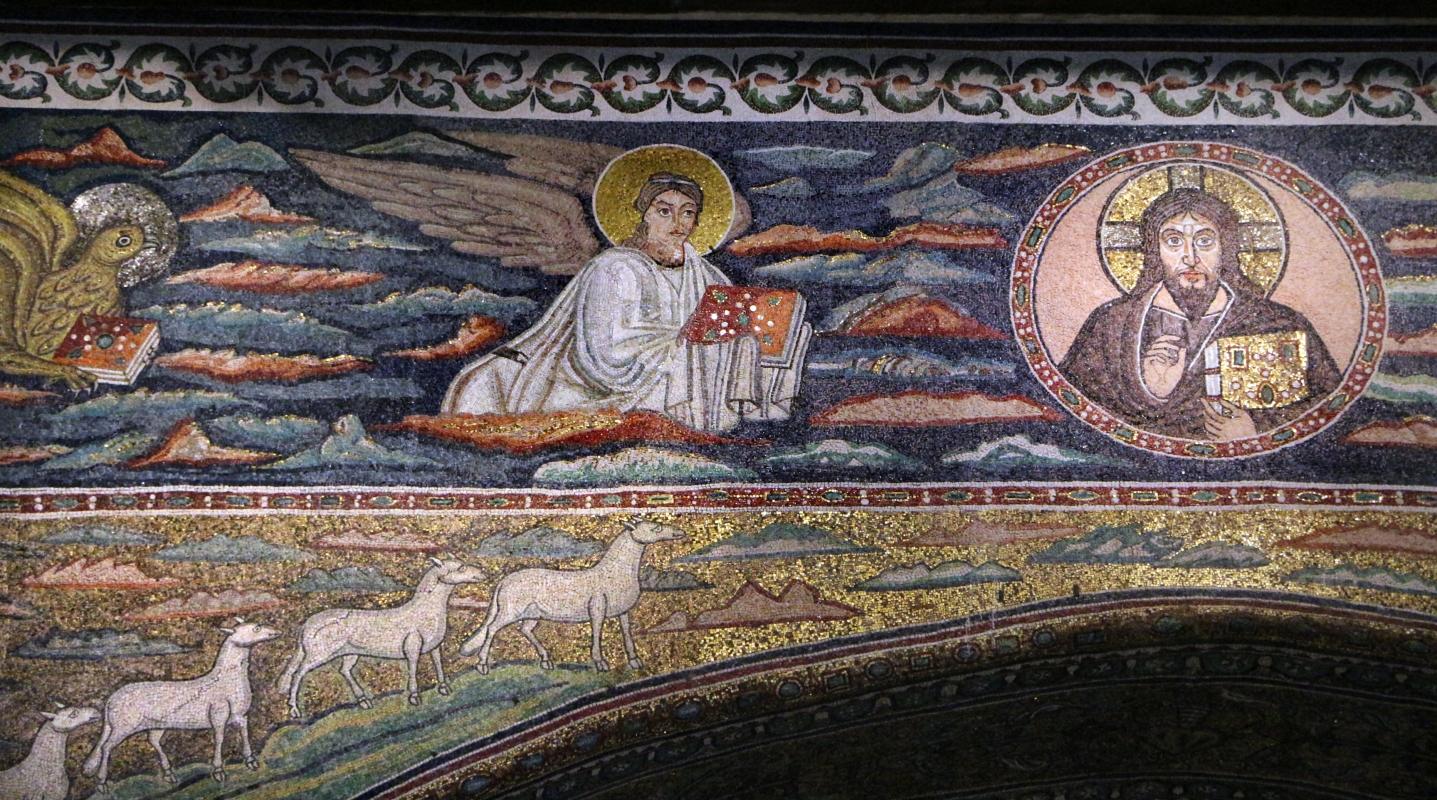 Sant'apollinare in classe, mosaici dell'arcone, cristo benedicente tra i simboli degli evangelisti (IX sec.) 02 matteo - Sailko - Ravenna (RA)