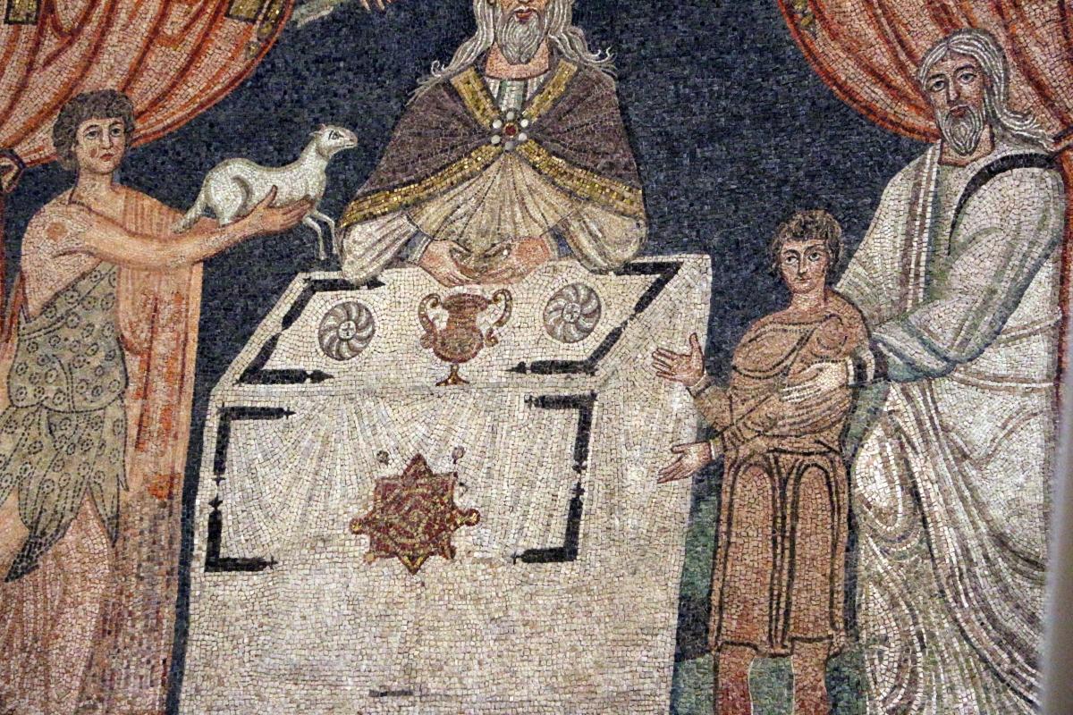 Sant'apollinare in classe, mosaici del catino, sacrifici di abele, melchidesech e abramo, 650-700 ca. 04 - Sailko - Ravenna (RA)