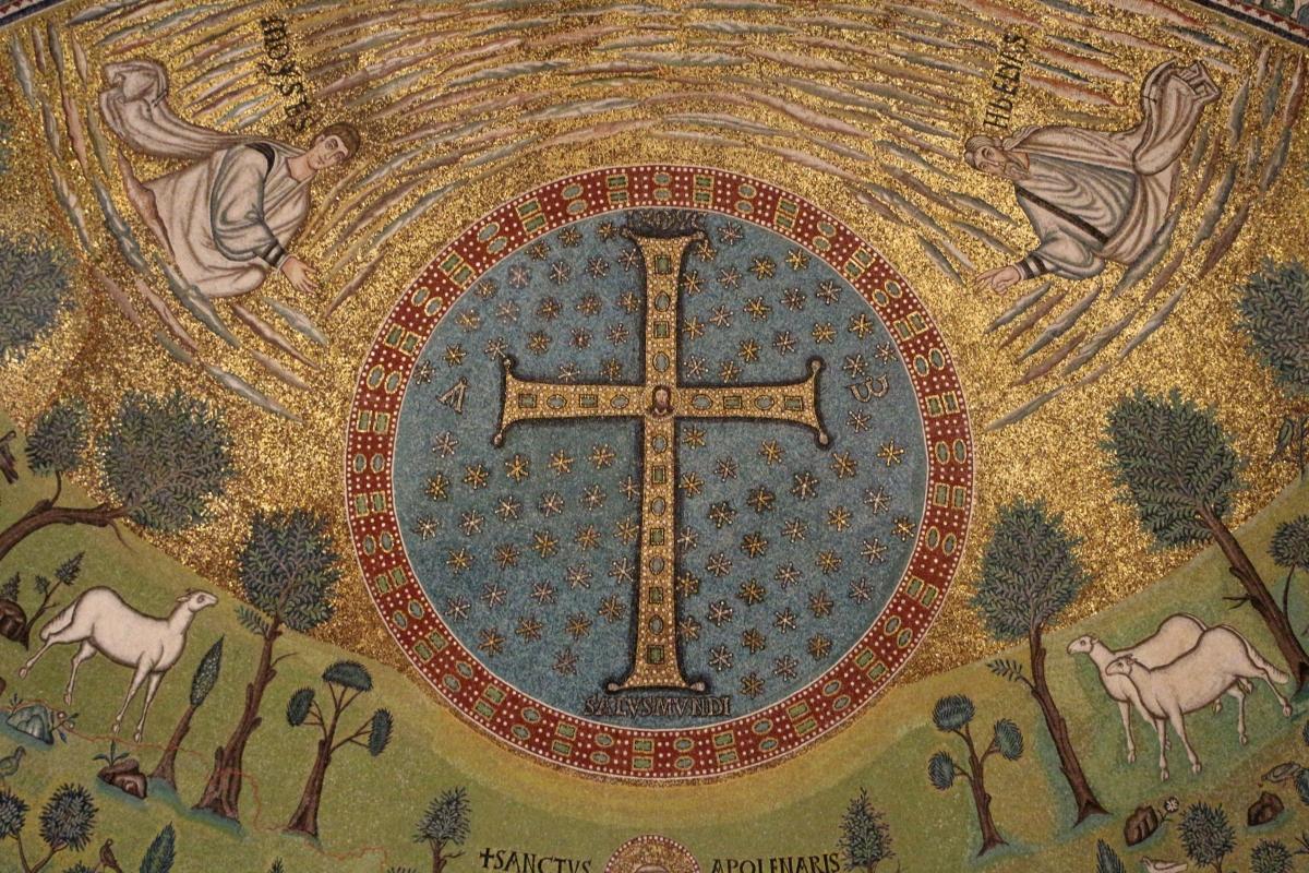 Sant'apollinare in classe, mosaici del catino, trasfigurazione simbolica, VI secolo, 04 croce gemmata - Sailko - Ravenna (RA)