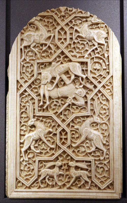 Sicilia islamica, formella con intrecci e animali, 1190-1210 ca - Sailko - Ravenna (RA)