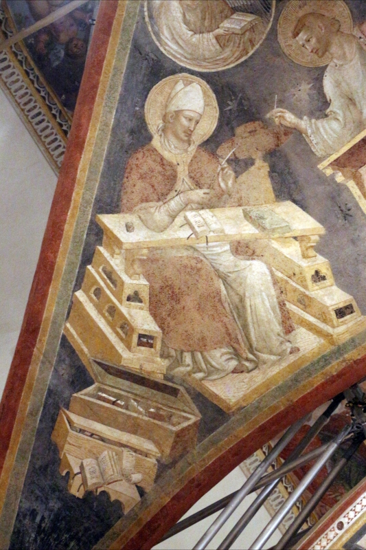 Pietro da rimini e bottega, affreschi dalla chiesa di s. chiara a ravenna, 1310-20 ca., volta con evangelisti e dottori, girolamo - Sailko - Ravenna (RA)