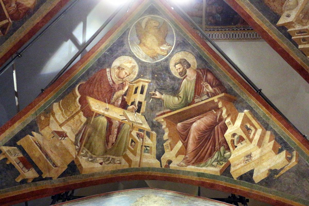 Pietro da rimini e bottega, affreschi dalla chiesa di s. chiara a ravenna, 1310-20 ca., volta con evangelisti e dottori, ambrogio e marco - Sailko - Ravenna (RA)