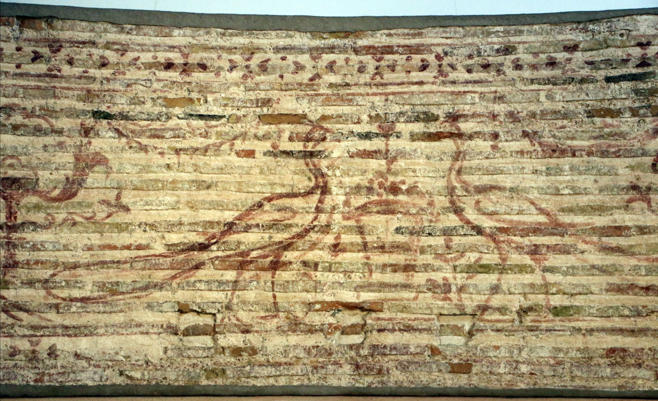 Disegno preparatorio su mattoni, dal catino absidale di sant'apollinare in classe, pavoni e cesti, 500-550 ca. 03 - Sailko - Ravenna (RA)