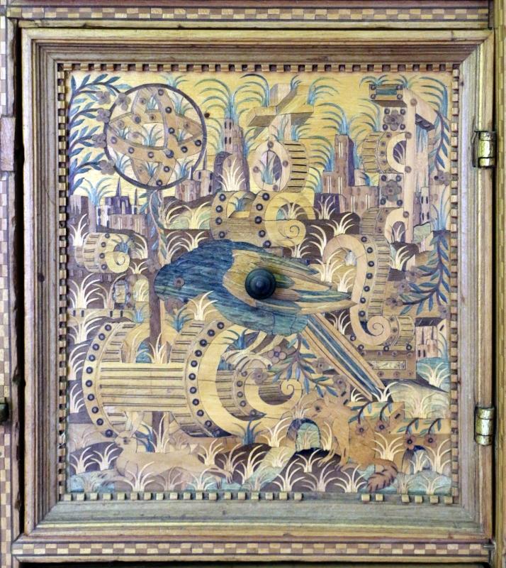 Augusta o tirolo, stipo da lavoro in legno di ciliegio con intarsi, 1550-1600 ca. 06 pappagallo - Sailko - Ravenna (RA)