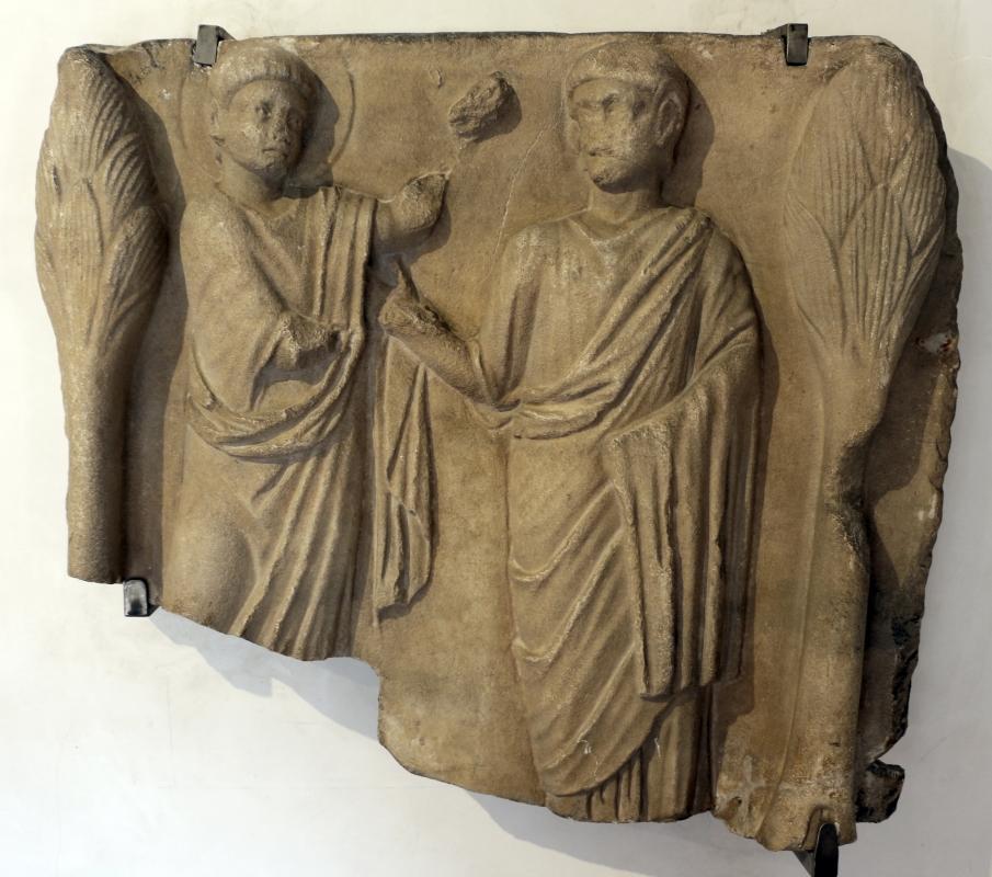 Frammento di sarcofago con incrdulità di s. tommaso, 390-510 dc ca - Sailko - Ravenna (RA)