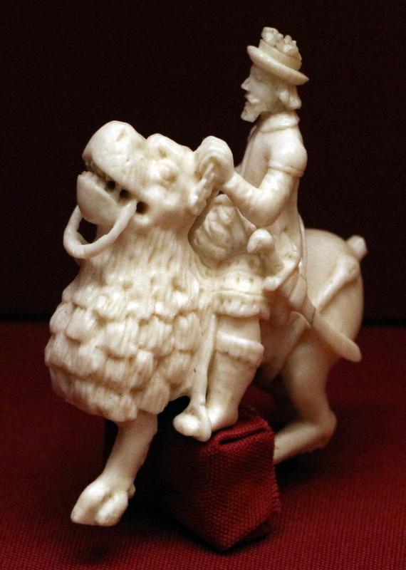 Germania o francia, cavaliere su animale fantastico, avorio, xviii secolo - Sailko - Ravenna (RA)
