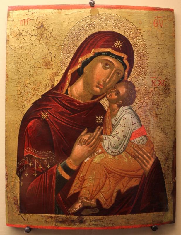 Pittore cretese, madonna della tenerezza (glycophilousa), 1490-1510 ca. 02 - Sailko - Ravenna (RA)
