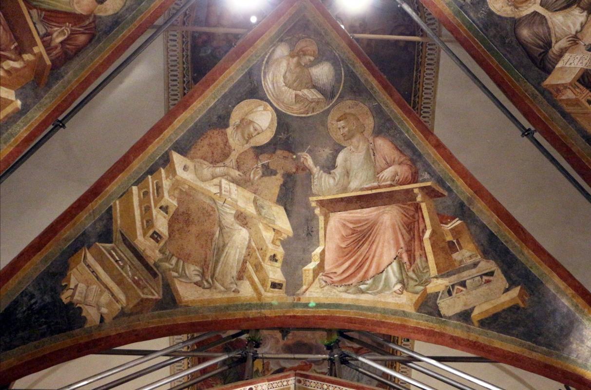 Pietro da rimini e bottega, affreschi dalla chiesa di s. chiara a ravenna, 1310-20 ca., volta con evangelisti e dottori, girolamo e matteo - Sailko - Ravenna (RA)