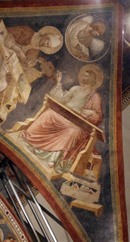 Pietro da rimini e bottega, affreschi dalla chiesa di s. chiara a ravenna, 1310-20 ca., volta con evangelisti e dottori, matteo - Sailko - Ravenna (RA)