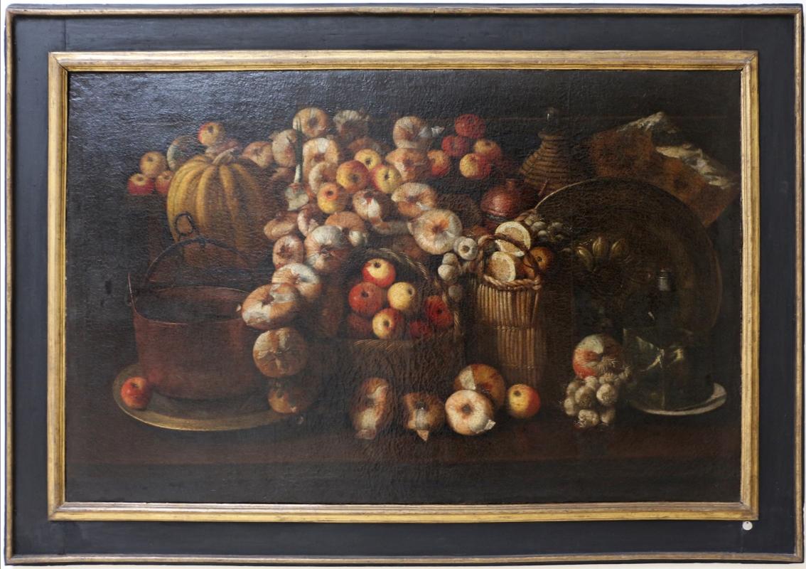 Paolo antonio barbieri (attr.), natura morta con mele, cipolle, agli, zucca e rami, xvii secolo - Sailko - Ravenna (RA)