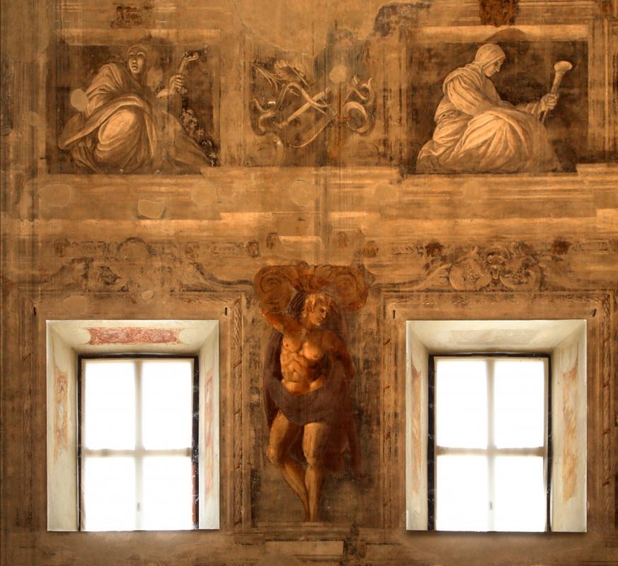 Pier francesco battistelli e aiuti, affreschi con scene dell'orlando furioso e della gerusalemme l. tra telamoni, 1619-28, 18 - Sailko - Gualtieri (RE)