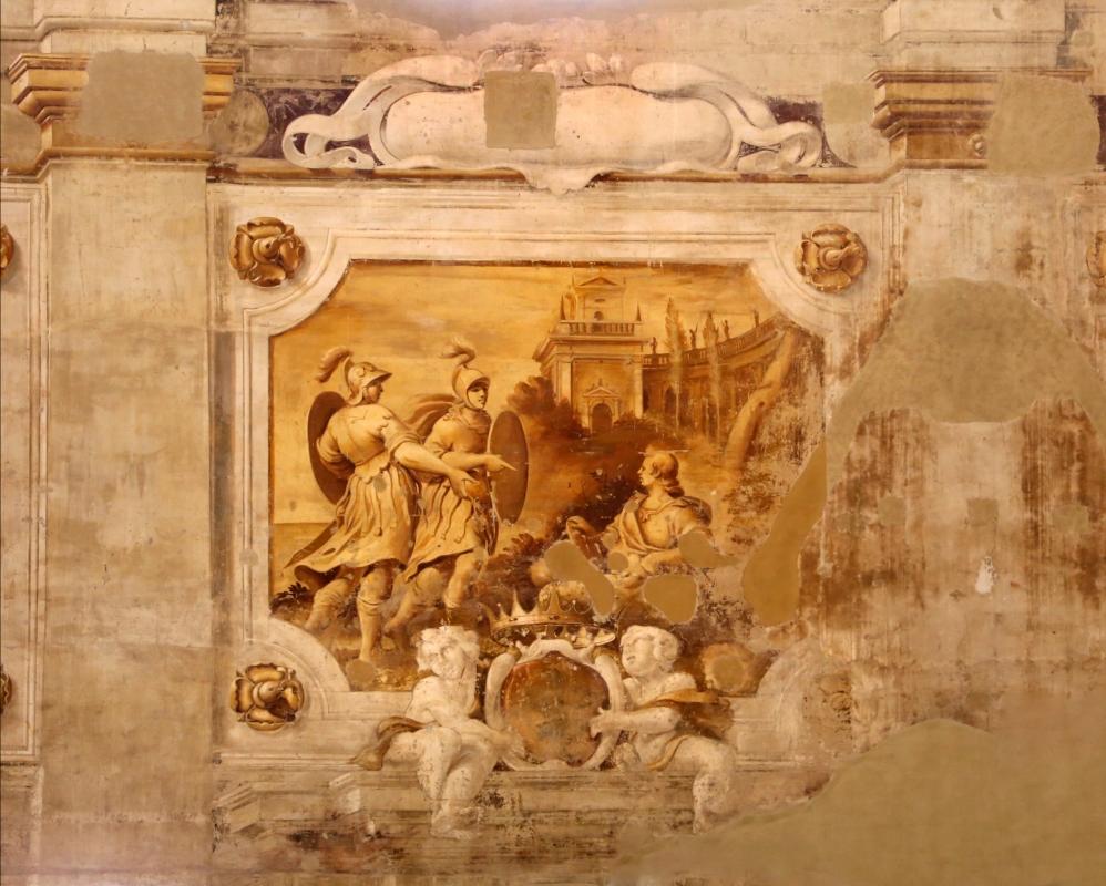 Pier francesco battistelli e aiuti, affreschi con scene dell'orlando furioso e della gerusalemme l. tra telamoni, 1619-28, 23 - Sailko - Gualtieri (RE)