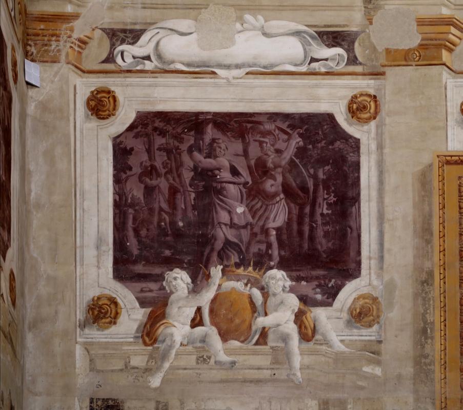 Pier francesco battistelli e aiuti, affreschi con scene dell'orlando furioso e della gerusalemme l. tra telamoni, 1619-28, 11 - Sailko - Gualtieri (RE)