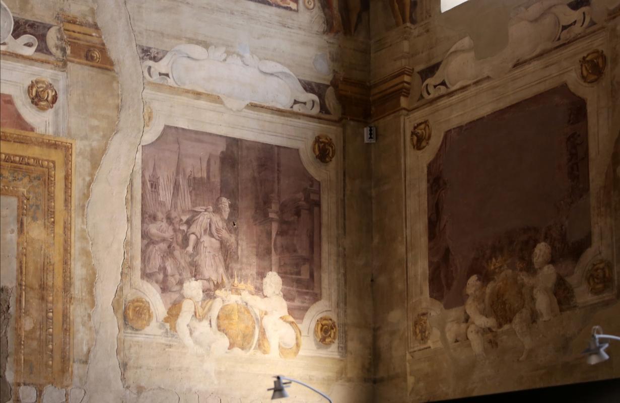Pier francesco battistelli e aiuti, affreschi con scene dell'orlando furioso e della gerusalemme l. tra telamoni, 1619-28, 16 - Sailko - Gualtieri (RE)